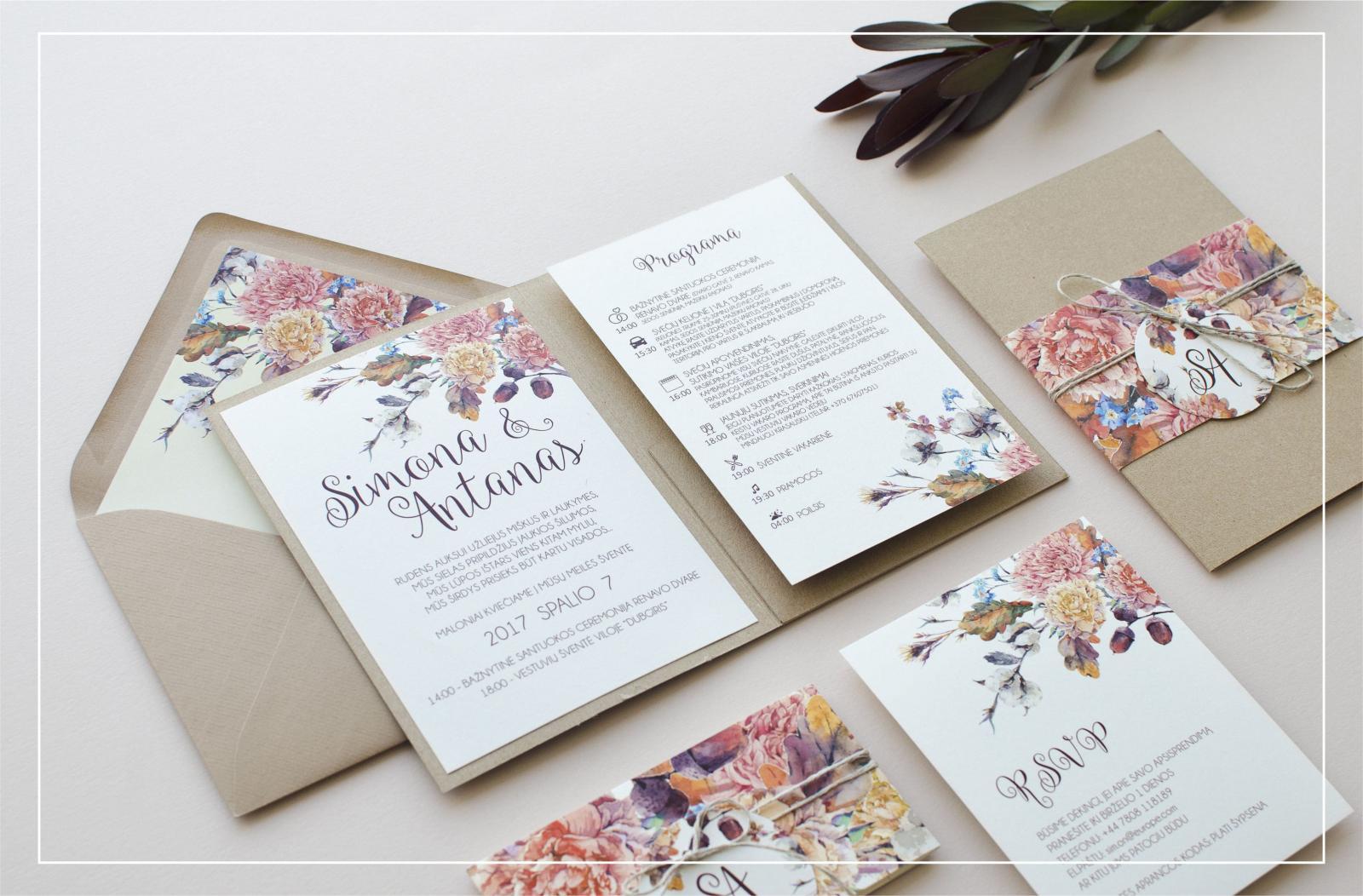 Цветы на свадебных приглашениях