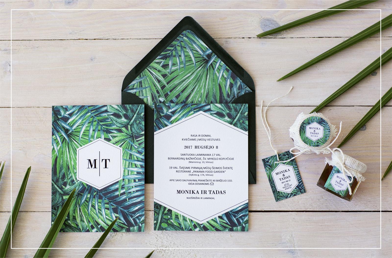 Пальмы на приглашениях на свадьбу