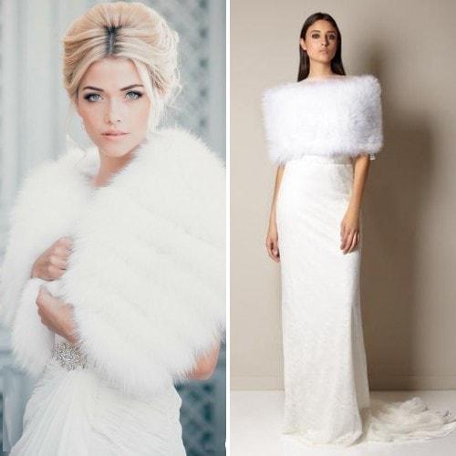 Белая меховая накидка для невесты
