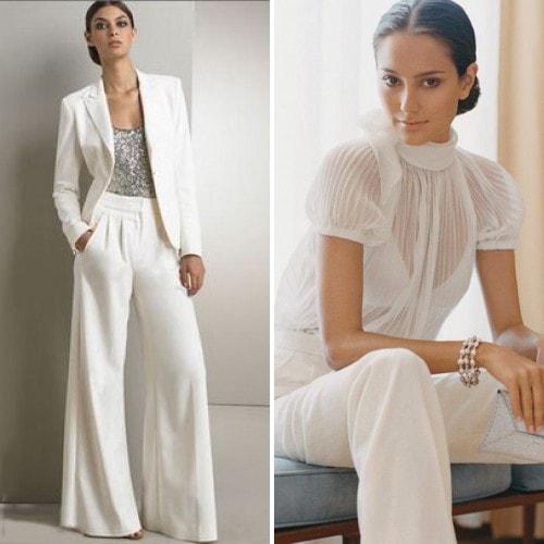 Брючный белый свадебный костюм