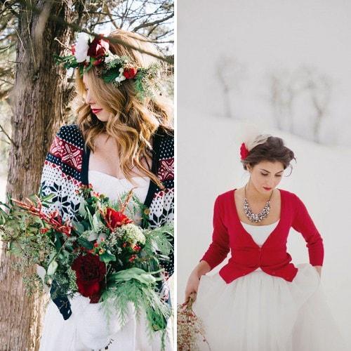 Красный кардиган под свадебное платье