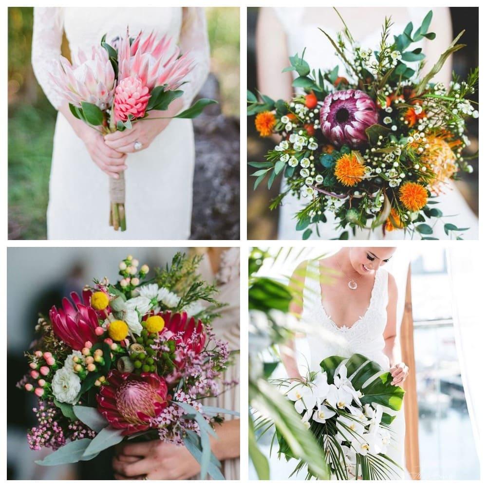 Необычные цветы и листья в букете невесты