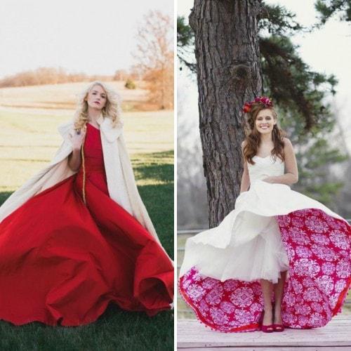 Свадебное платье яркого цвета