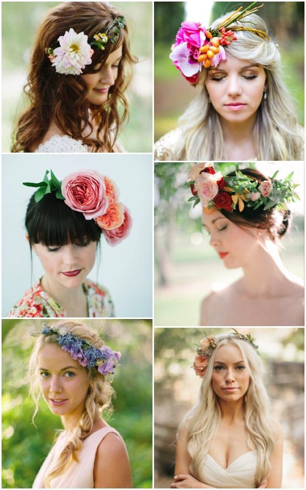 Свежие цветы и сочные ягоды в свадебной прическе