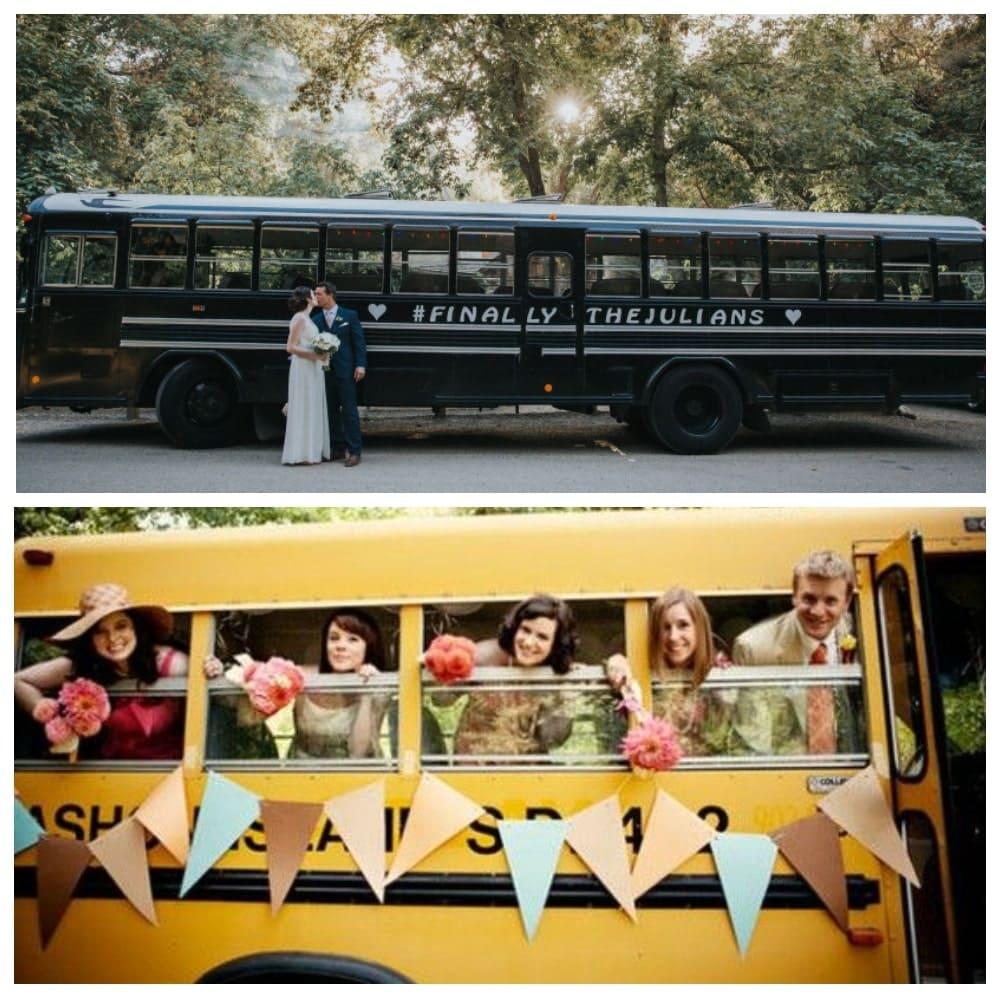 Украшение автобуса и микроавтобуса на свадьбу