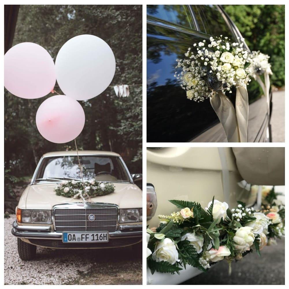 Украшение лимузина и седана на свадьбу