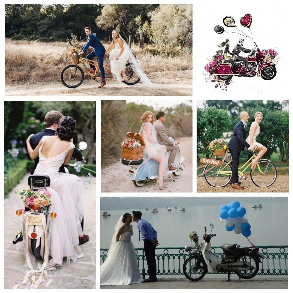 Украшение мотоцикла, мотороллера и велосипеда на свадьбе