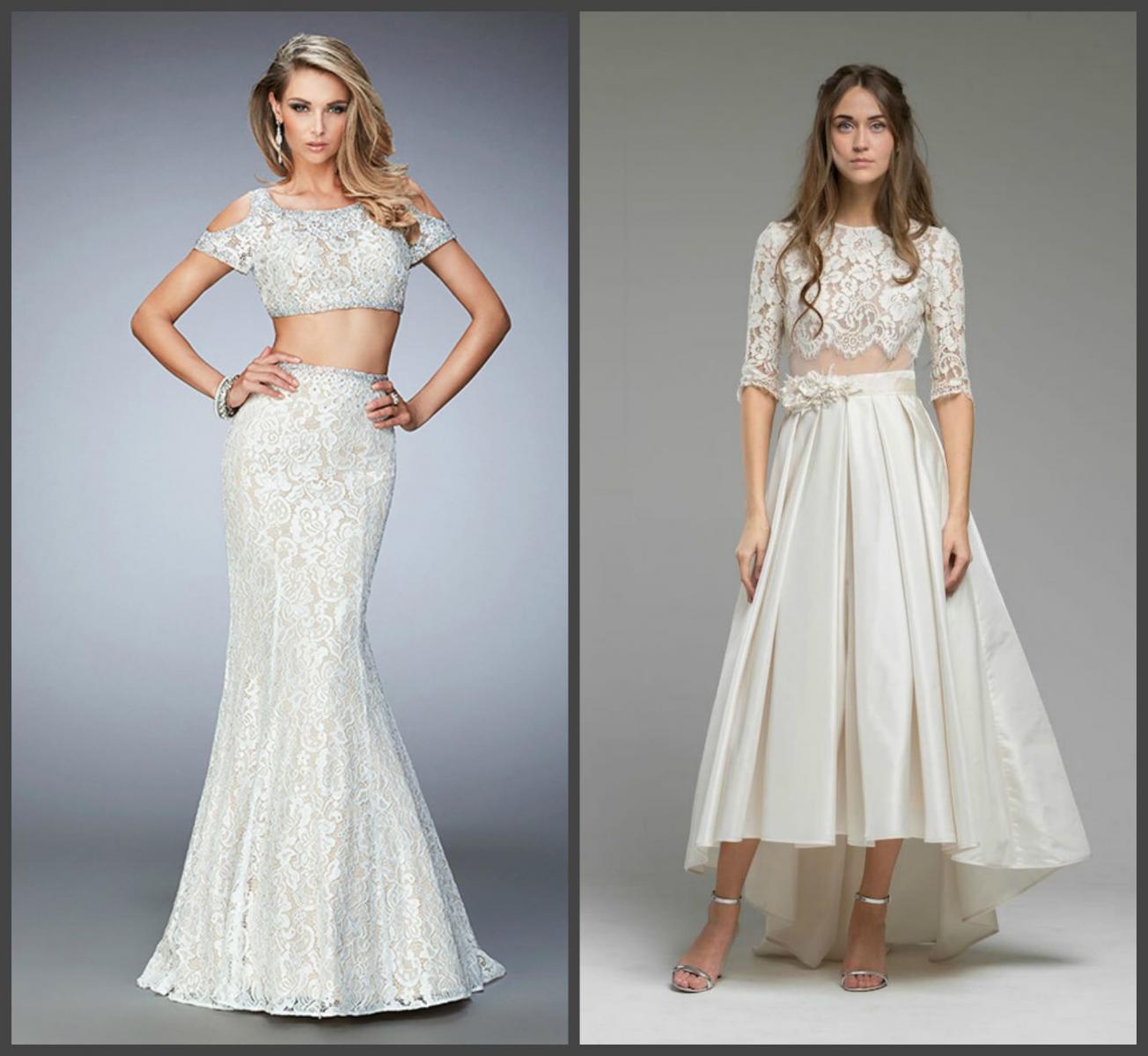 Свадебное платье crop top