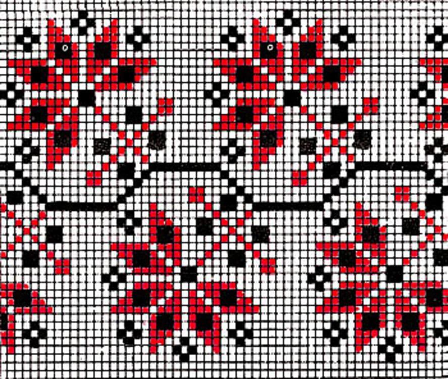 Орнамент на рушнике - Листья хмеля