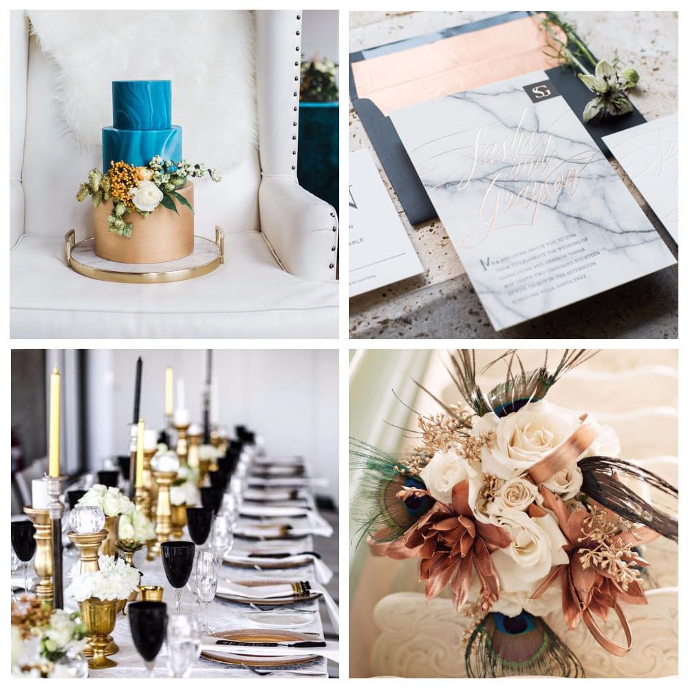 Мрамор и металл — интересный свадебный тренд