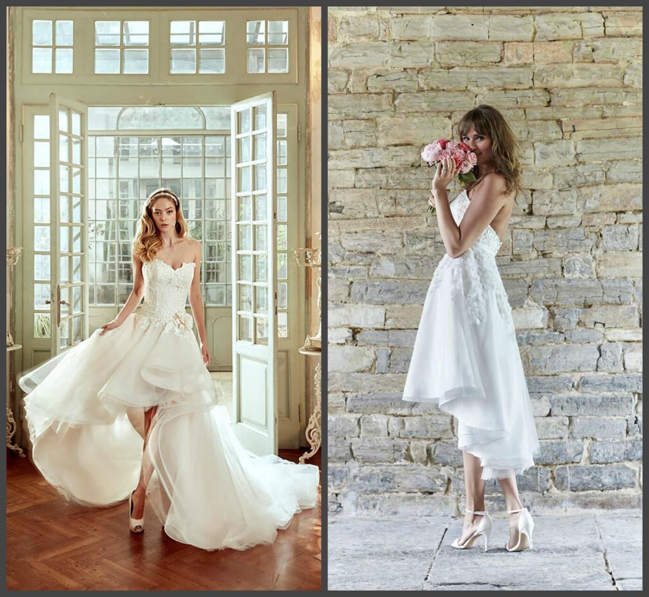 Свадебное платье разной длины