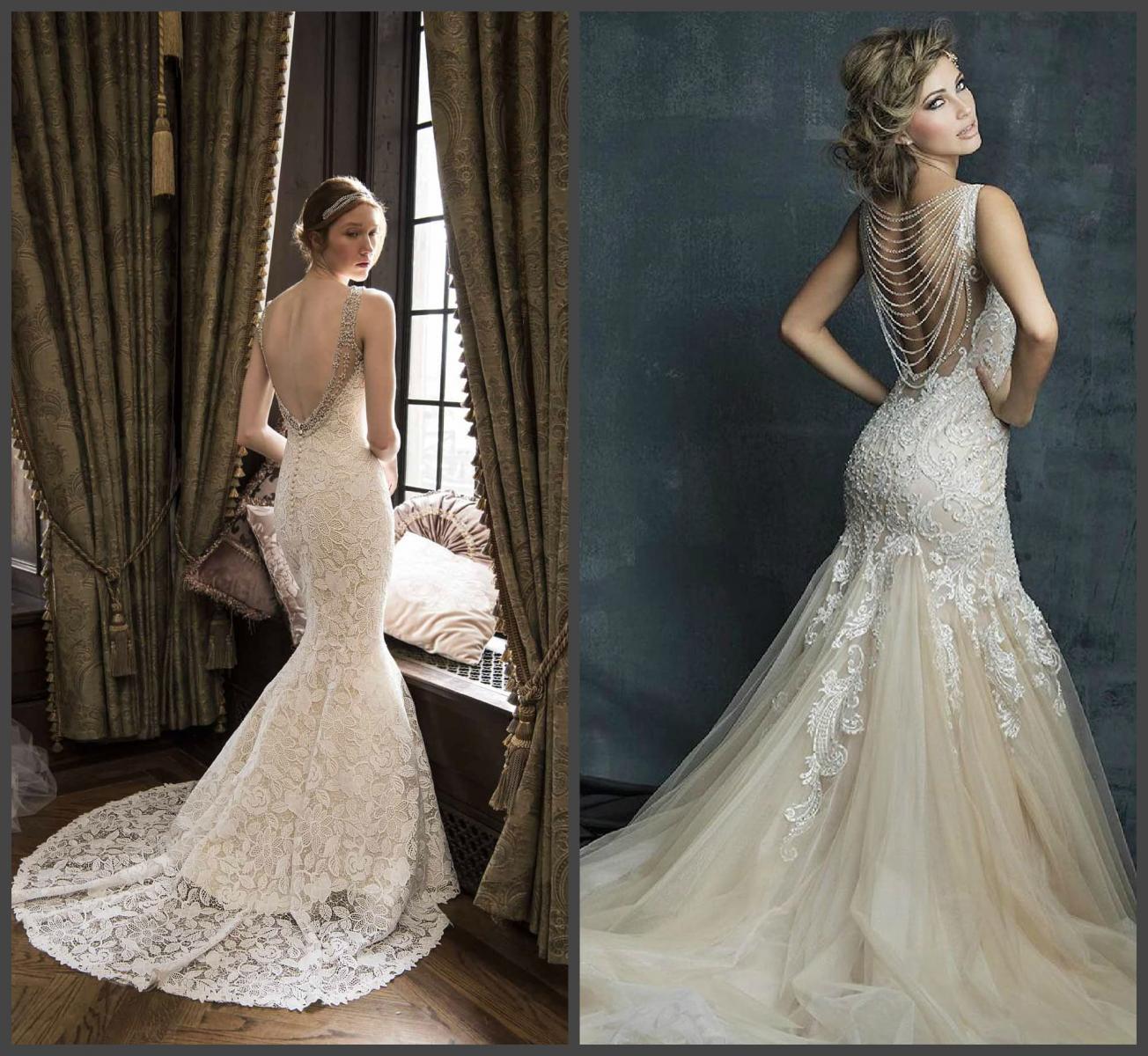 Свадебное платье с драматической спиной