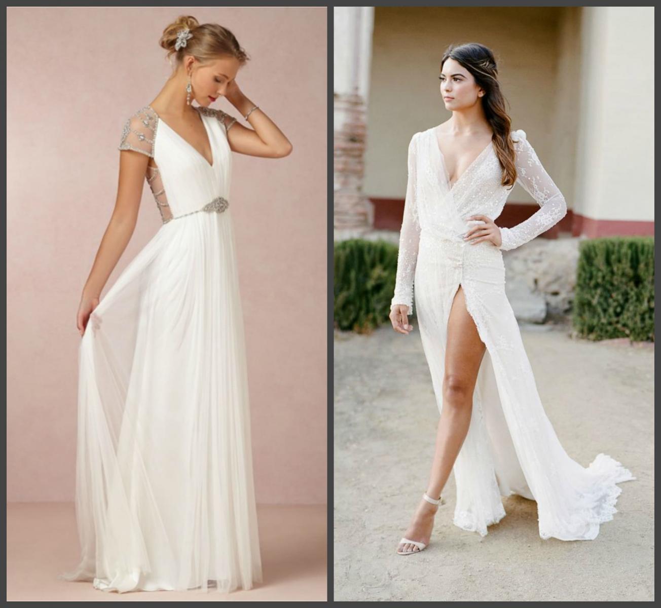 Свадебное платье с низким V-образным вырезом