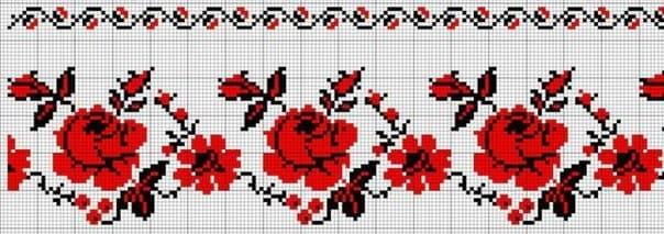 Орнамент на рушнике - Розы