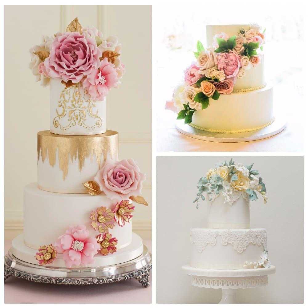 «Сахарный цветочный букет» на свадебном торте