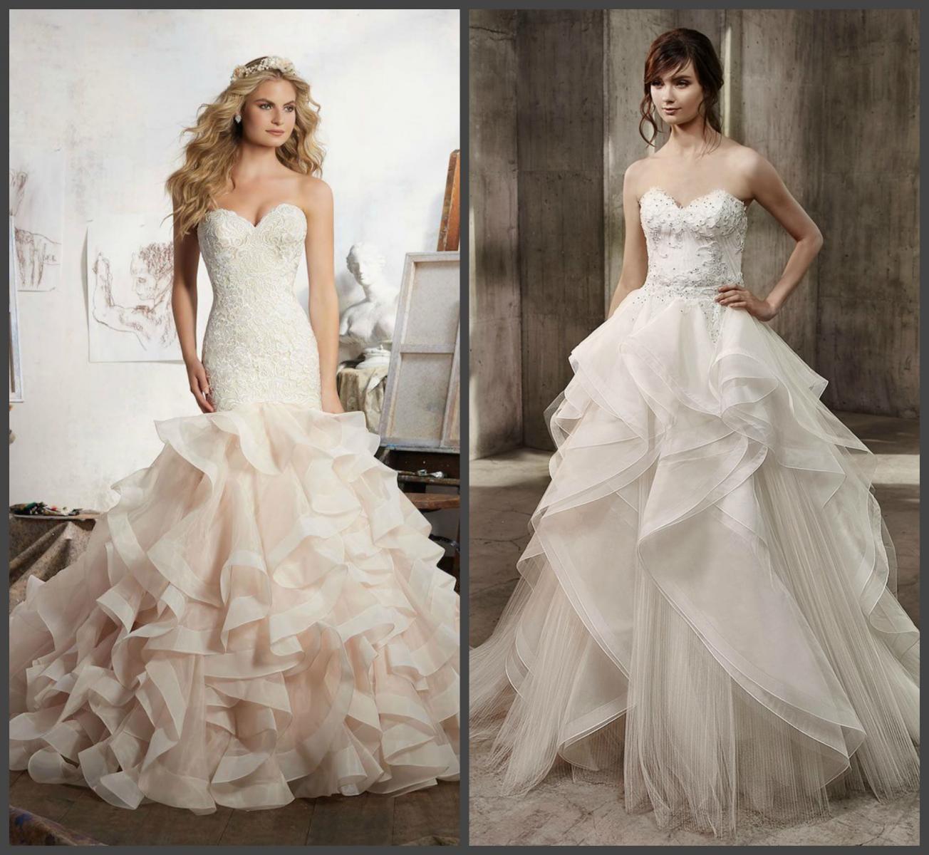 Свадебное платье с рюшами и оборками