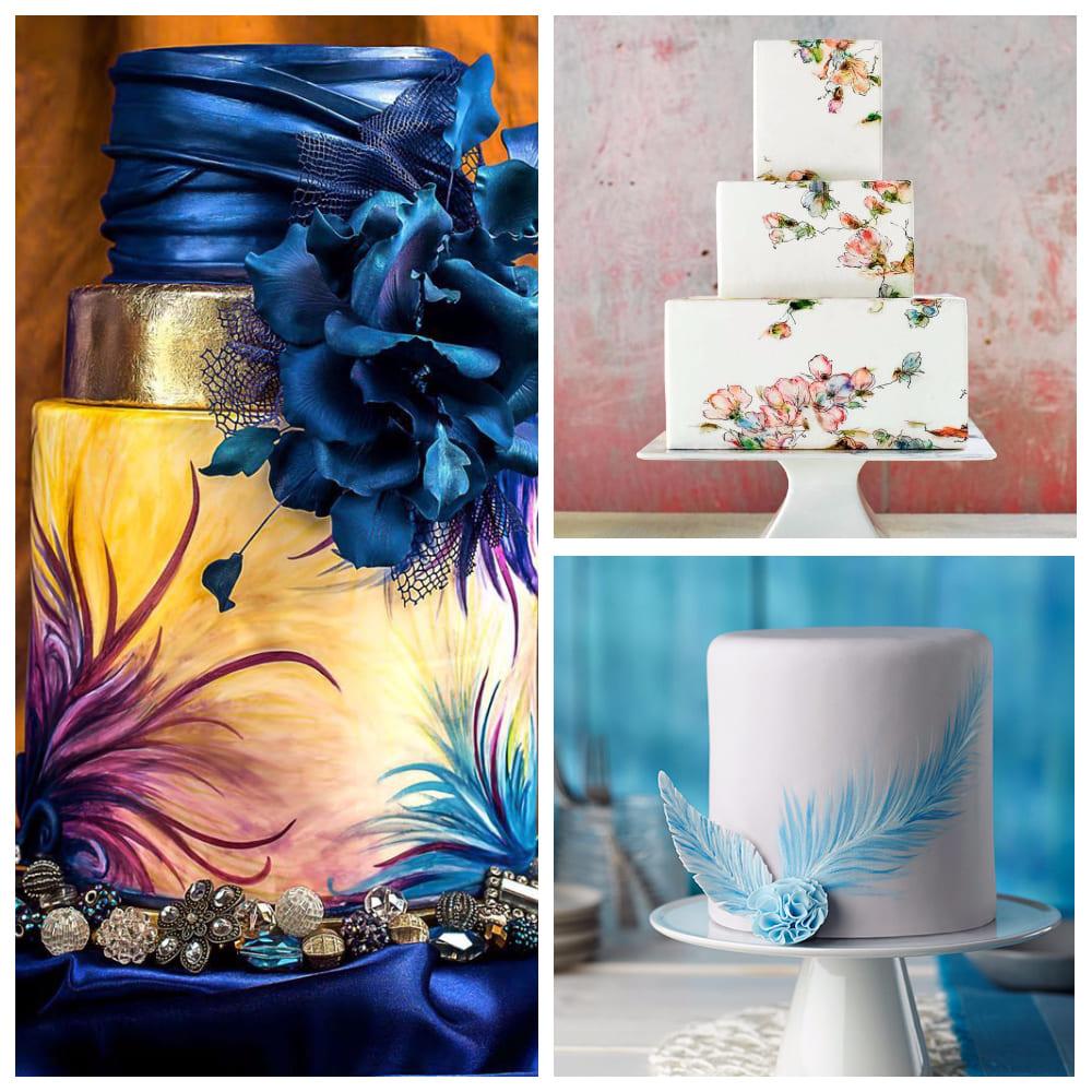 Свадебный торт с ручной росписью